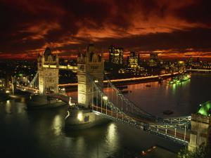 Aerial View over Tower Bridge, London, England, United Kingdom, Europe by Dominic Harcourt-webster