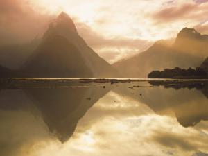 New Zealand, South Island, Milford Sound, Mitre Peak at Sunset by Dominic Webster
