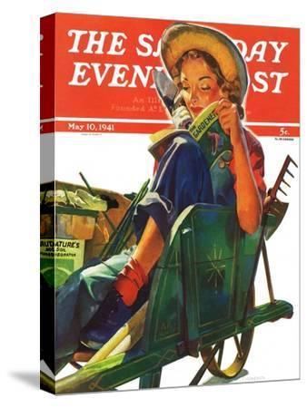 """Gardener in Wheelbarrow,"" Saturday Evening Post Cover, May 10, 1941"