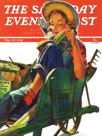 """Gardener in Wheelbarrow,"" Saturday Evening Post Cover, May 10, 1941"