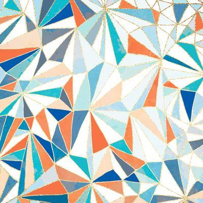 Geometric Pattern - Orange, Teal and Blue 1