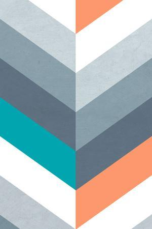 Vertical Chevron Pattern Light - Teal, Orange, Blue