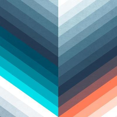 Vertical Chevrons Pattern - Teal, Orange, Blue Gradient