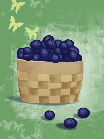 Basket of Fresh Blue Berries Illustration