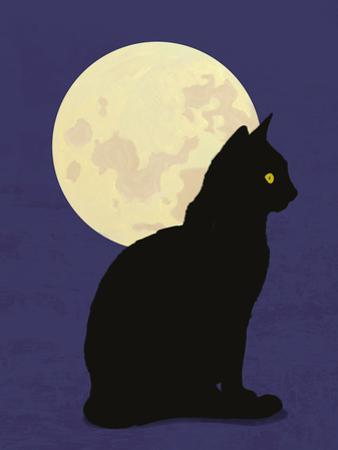 Black Cat and Moon Graphic Illustration by Don Bishop