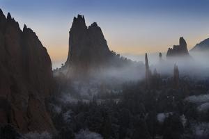 Colorado, Colorado Springs. Morning Fog in Garden of the Gods Park by Don Grall