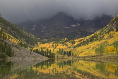 Colorado, Maroon Bells SP. Storm Clouds on Maroon Bells Mountains