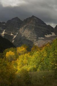 Colorado, Maroon Bells State Park. Storm over Maroon Bells Peaks by Don Grall