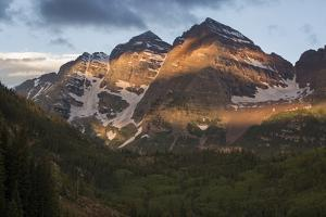 Colorado, Maroon Bells State Park. Sunrise on Maroon Bells Mountains by Don Grall