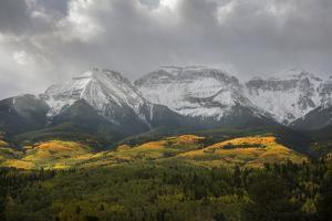 Colorado, Sneffels Range. Morning Snow Clouds over Mountain Landscape by Don Grall