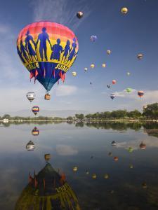 Hot Air Balloons Reflected in Prospect Lake, Colorado Springs, Colorado, USA by Don Grall
