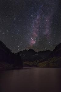USA, Colorado. the Milky Way Above Maroon Bells Mountains and Lake by Don Grall