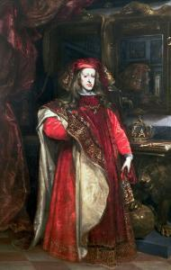 King Charles II of Spain Wearing the Robes of the Order of the Golden Fleece by Don Juan Carre?o de Miranda