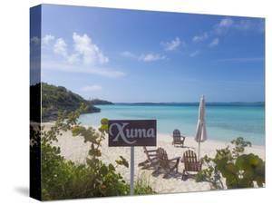 Bahamas, Exuma Island. Chairs on Beach by Don Paulson