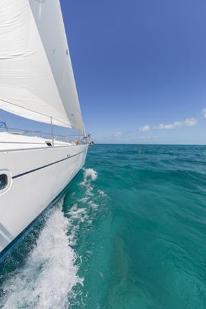 Bahamas, Exuma Island. Sailboat under Sail in Ocean by Don Paulson