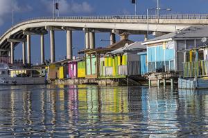 Bahamas, Nassau. Vendors' Shacks in Potters Cove by Don Paulson