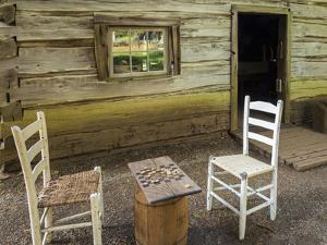 USA, Virginia, Mabry Mill. Checkers Board on Barrel by Don Paulson
