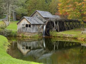 USA, Virginia, Mabry Mill. Composite of Mill and Pond by Don Paulson