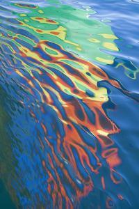 Washington State, San Juan Islands. Water Reflection of Boat Sail by Don Paulson