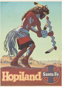 Santa Fe Railroad, Hopiland, Native American Hopi Indian, Arizona, 1940s by Don Perceval