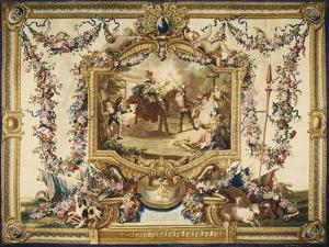 Don Quixote and Sancho on Wooden Horse Gobelins Tapestry
