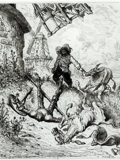 Don Quixote and the Windmills, from Don Quixote de La Mancha by Miguel Cervantes-Gustave Dor?-Giclee Print
