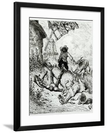 Don Quixote and the Windmills, from Don Quixote de La Mancha by Miguel Cervantes-Gustave Doré-Framed Giclee Print