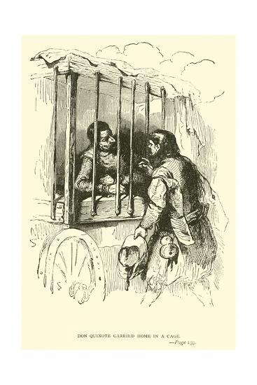 Don Quixote Carried Home in a Cage-Sir John Gilbert-Giclee Print