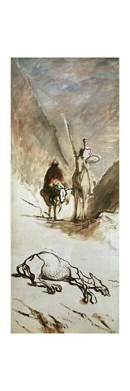 Don Quixote, Sancho Panza and the Dead Mule, 1867-Honore Daumier-Giclee Print