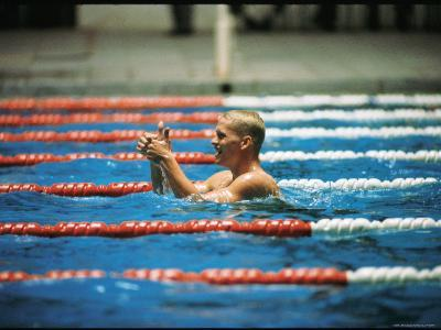 Don Schollander Gives Two Thumbs Up After Swimming Anchor on Relay Team at Summer Olympics-Art Rickerby-Premium Photographic Print