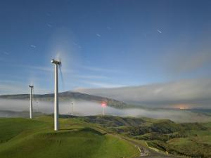 A Long Exposure by Moonlight of Windmills in Te Apiti Wind Farm, Manawatu, New Zealand by Don Smith