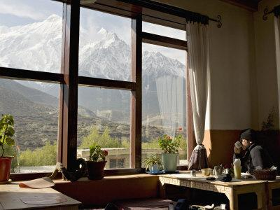 Nilgiri Range Whilst Enjoying Breakfast in Om's Home Hotel at Jomsom on the Annapurna Circuit Trek