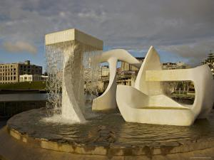 Sculpture with Water Fall on the Edge of Frank Kitts Park, Wellington, North Island, New Zealand by Don Smith