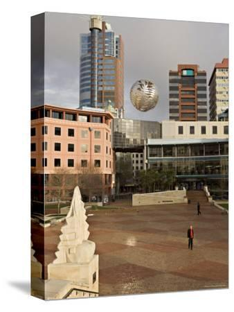 Silver Fern Globe Suspended Over the Civic Square, Wellington, North Island, New Zealand, Pacific