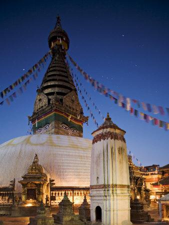Swayambhunath Buddhist Stupa on a Hill Overlooking Kathmandu, Unesco World Heritage Site, Nepal