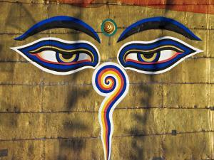 The Eyes on the Buddhist Stupa of Swayambhu, Kathmandu, Unesco World Heritage Site by Don Smith