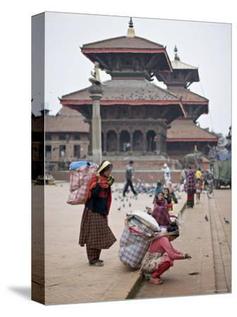 Women Loading Up, Using Dokos to Carry Loads, in Durbar Square, Patan, Kathmandu Valley, Nepal