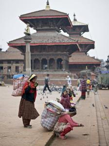 Women Loading Up, Using Dokos to Carry Loads, in Durbar Square, Patan, Kathmandu Valley, Nepal by Don Smith