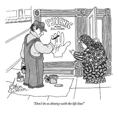 """""""Don't be so chintzy with the life line!"""" - New Yorker Cartoon-Gahan Wilson-Premium Giclee Print"""