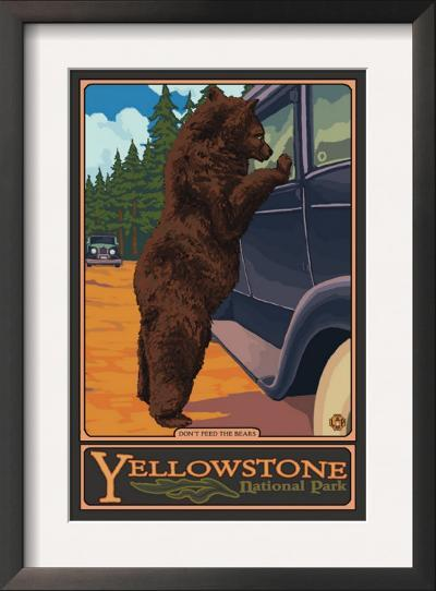 Don't Feed the Bears, Yellowstone National Park, Wyoming-Lantern Press-Framed Art Print