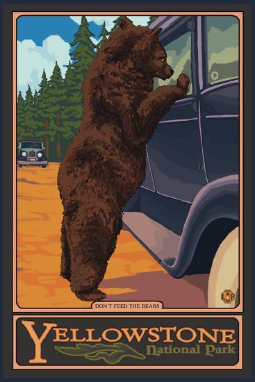 Don't Feed the Bears, Yellowstone National Park, Wyoming-Lantern Press-Art Print