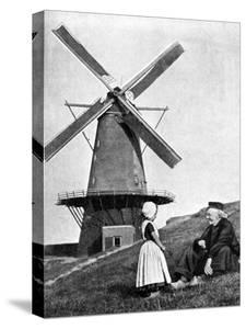Traditional Dutch Scene with Windmill, Holland, 1936 by Donald Mcleish