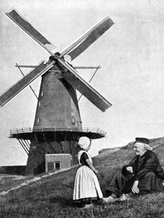 Traditional Dutch Scene with Windmill, Holland, 1936