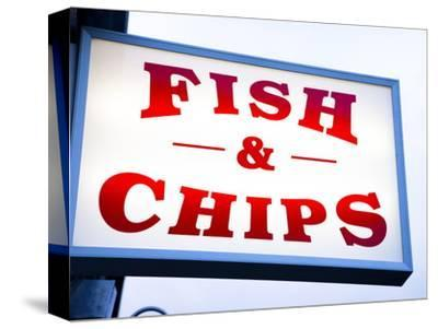 Fish and Chips Sign in Conwy, Clwyd, Wales, United Kingdom, Europe