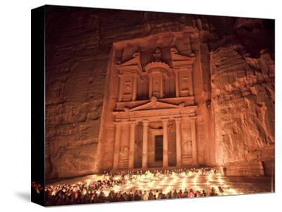 Nightime Tourist Show in Candlelight, in Front of the Treasury (El Khazneh), Petra, Jordan