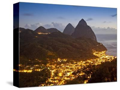 The Pitons and Soufriere at Night, St. Lucia, Windward Islands, West Indies, Caribbean