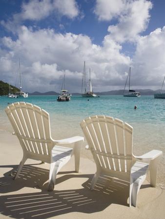 Two Empty Beach Chairs on Sandy Beach on the Island of Jost Van Dyck in the British Virgin Islands by Donald Nausbaum