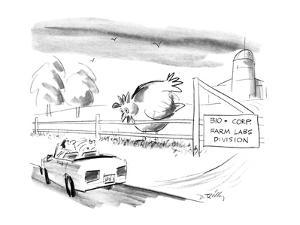 "A giant chicken looks over a fence as if it were a cow, at a passing motor?"" - New Yorker Cartoon by Donald Reilly"