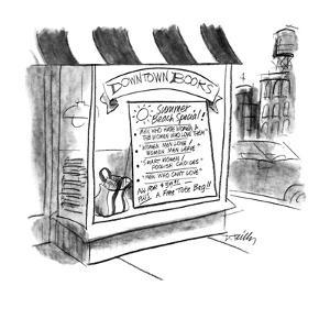 """Book store with large sign """"Summer Beach Special! """"Men who hate women & th? - New Yorker Cartoon by Donald Reilly"""