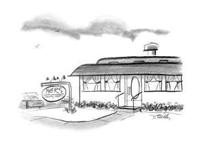 """Diner with sign """"HERS (Formerly Moms) - New Yorker Cartoon by Donald Reilly"""